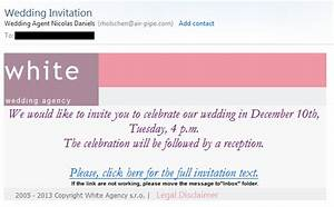 wedding invitation email scam white wedding agency With are email wedding invitations tacky