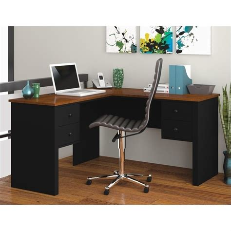 home office l desk bestar somerville l shaped black tuscany brown home