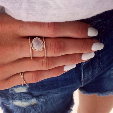 14kt gold and diamond double band moonstone ring rings