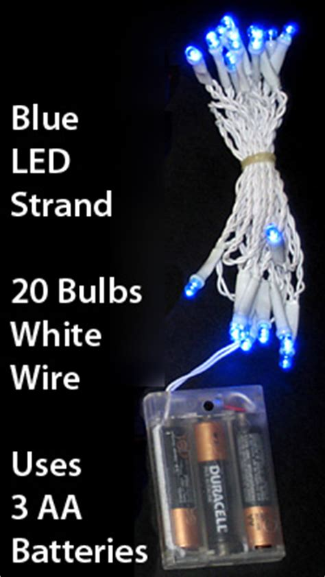 led mini lights 8 foot white wire blue bulbs