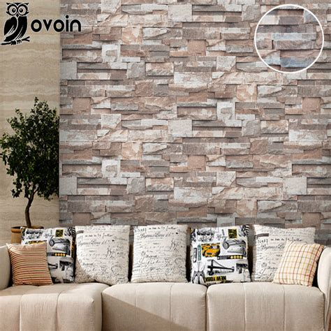vinyle  pierre papier peint rouleau brique mur papier