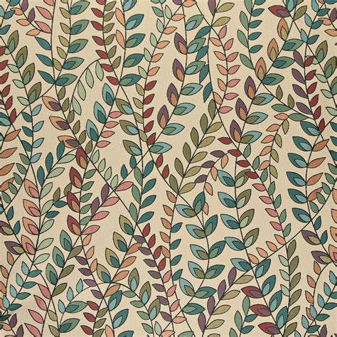 Blue And Orange Upholstery Fabric by Aqua Pink On Beige Colorful Leafs On Twine Foliage Theme