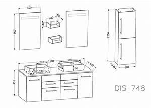 Dimension Vasque Salle De Bain : meuble salle de bain ref dis748gt ~ Nature-et-papiers.com Idées de Décoration