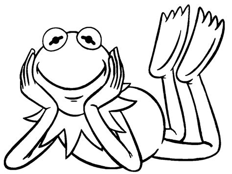 nice  muppets kermit  frog smile coloring pages