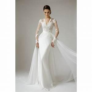 11v neck sheer long sleeves sheath column sweep satin for Long sleeve v neck wedding dress