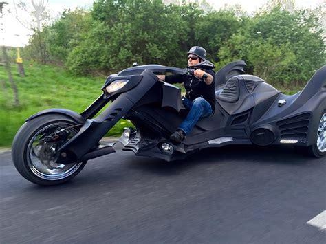 A Custom Trike Motorcycle Resembling Batman's Vehicle From
