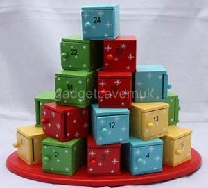 Wooden Christmas Advent Calendar Box Tree Stack Boxes