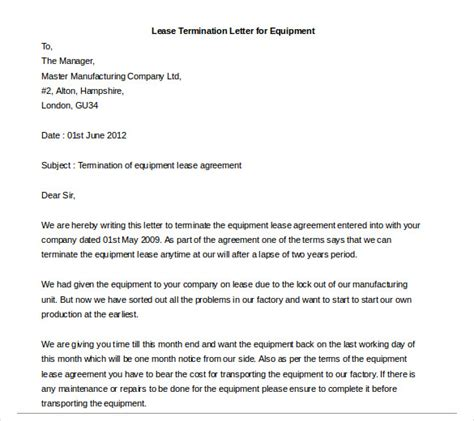 lease termination letter   word  documents
