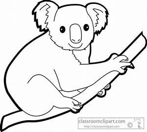 Animals : koalas_on_tree_outline : Classroom Clipart