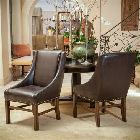 leather dining room chair set of 2 dining room furniture brown leather dining chairs