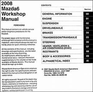2008 Mazda6 Repair Shop Manual Original Mazda 6