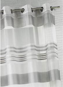 Rideau Voilage Gris : voilage organza rayures horizontales tiss es gris ivoire taupe bois de rose ~ Preciouscoupons.com Idées de Décoration
