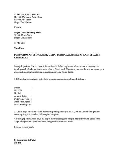 contoh surat permohonan sewa tapak gerai