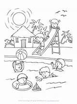 Coloring Pool Swimming Sheets Fun Printable Drawing Allkidsnetwork Books Season Children Sheet Easy Summertime Spring Disimpan Dari Colour članku Zdroj sketch template