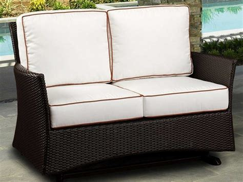 Northcape Venice Wicker Cushion Arm Glider Patio Loveseat
