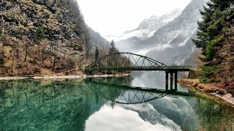 nature landscape water lake trees reflection bridge
