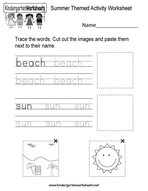 Summer Themed Activity Worksheet  Free Kindergarten Seasonal Worksheet For Kids