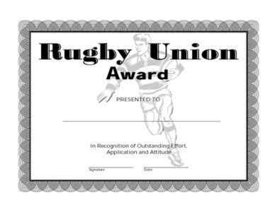 rugby union award  certificate templates teachers