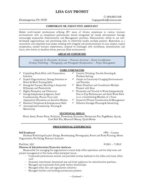 19945 exle of executive resume resume exles personal assistant best of executive