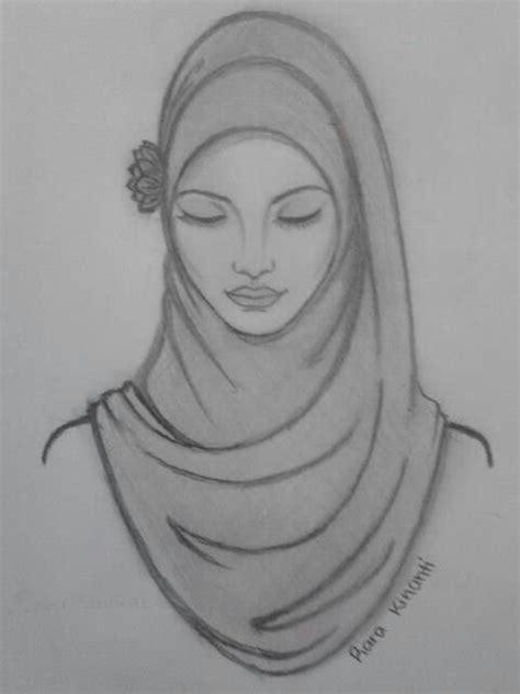 beautiful hijab sketching illustrations