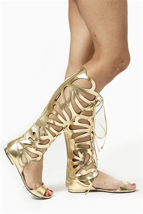 lace up lace flats breckelles gold cut out gladiator knee high sandal