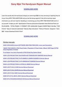 Sony Mpk Trb Handycam Repair Manual By Preciouspaulson