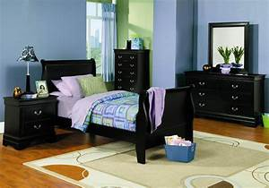 Kids black bedroom furniture nautical inspired bedrooms for Large bedroom furniture teenagers dark
