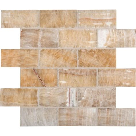 home depot brick tile honey 12 in x 12 in x 10 mm polished onyx subway mesh
