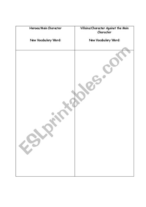 worksheets protagonist and antagonist chart