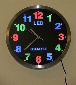 Led Uhr Wand : design led wanduhr analog wand uhr led farbige beleuchtung ebay ~ Whattoseeinmadrid.com Haus und Dekorationen