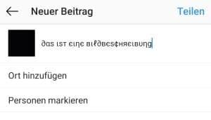 instagram schriftart unter bild aendern  gehts app blog