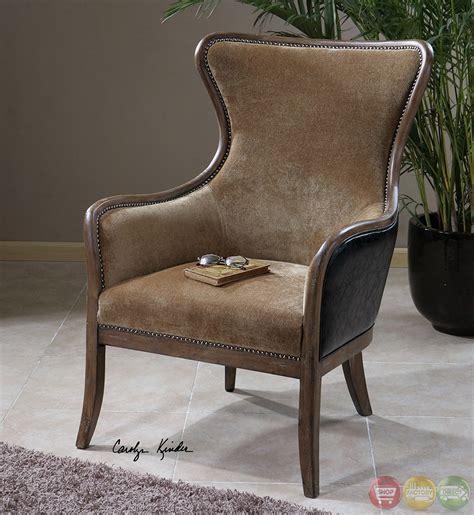 snowden caramel velvet wood frame wing chair 23158