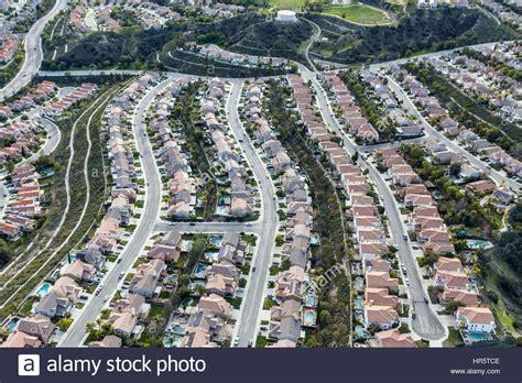 Bedroom Community In aerial view of suburban stevenson ranch bedroom community