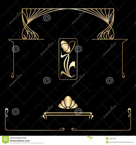 vector set of nouveau decorative elements stock vector image 47667832