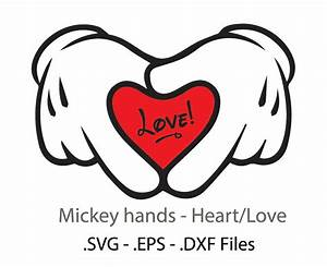 Mickey hands/heart design. Vectors cuttable files. from ...
