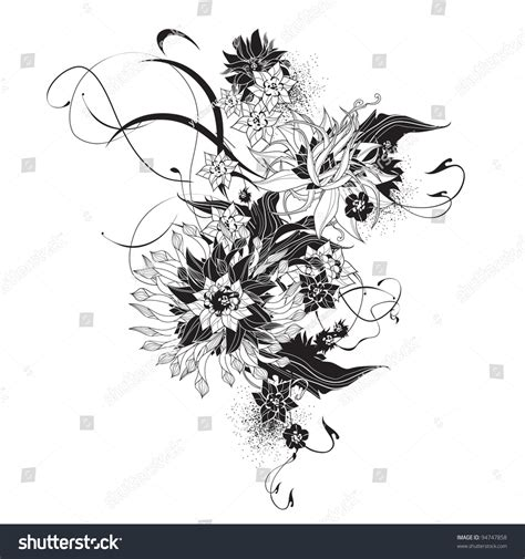 Abstract Flowers Black And White by Abstract Flowers Black And White Stock Vector