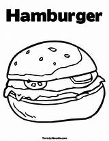 Coloring Hamburger Buns Pages Template sketch template