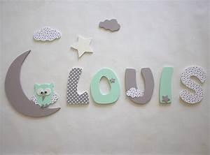 Decoration prenom lettres en bois lettres taille 9 cm for Lettre decorative pour chambre bebe