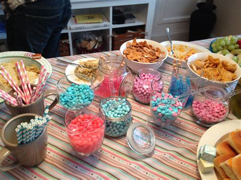 Gender reveal party food ideas. Food table | Food table, Gender reveal party, Food