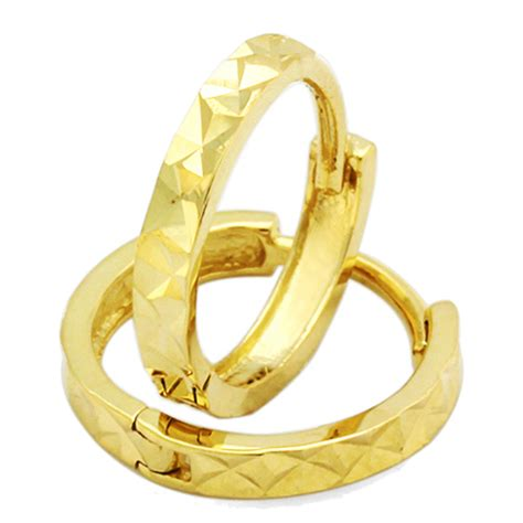 doubleaccent  gold huggie earrings mm diamond cut yellow gold