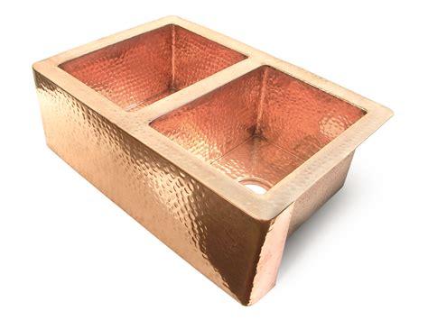 kitchen copper sinks well 50 50 flat front copper kitchen sink 3415