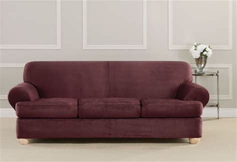 individual 3 piece t cushion sofa slipcover sure fit ultimate heavyweight stretch suede individual 3
