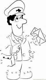Postman Pat Coloring Worksheets Printable Pdf Dot Preschool Office Kleurplaat Dots Connect Occupations Postino Postbote Worksheet Pieter Kindergarten Postal Mailman sketch template