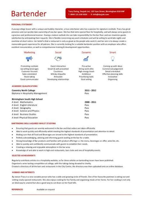 How To Write A Bartending Resume by Bartender Resume Template Http Jobresumesle 767