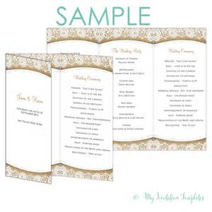 trifold wedding program rustic program template burlap and lace trifold free sample