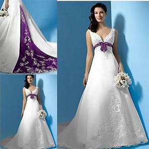 White and purple wedding dresses 2015 satin a line sexy for Royal purple and white wedding dress