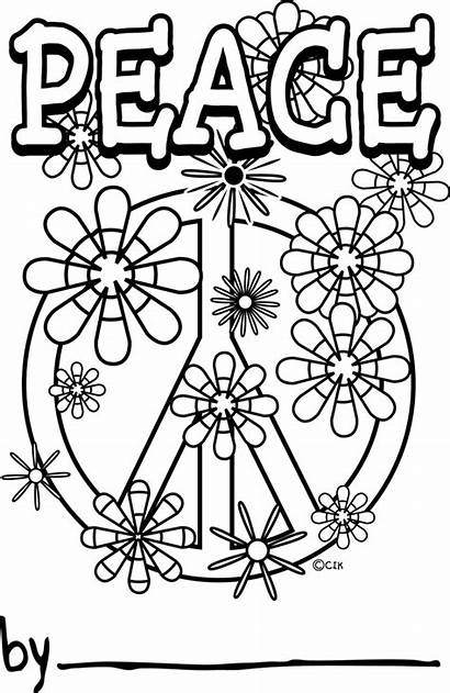 Peace Coloring Pages Sign Dog Adult Printable