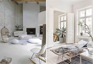 conseils deco pour un salon blanc total look made in meubles With mur couleur lin et gris 7 le style scandinave trouver des idees de decoration