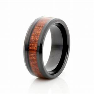 8mm black tungsten ring wood inlay mens wedding band men With men tungsten wedding rings