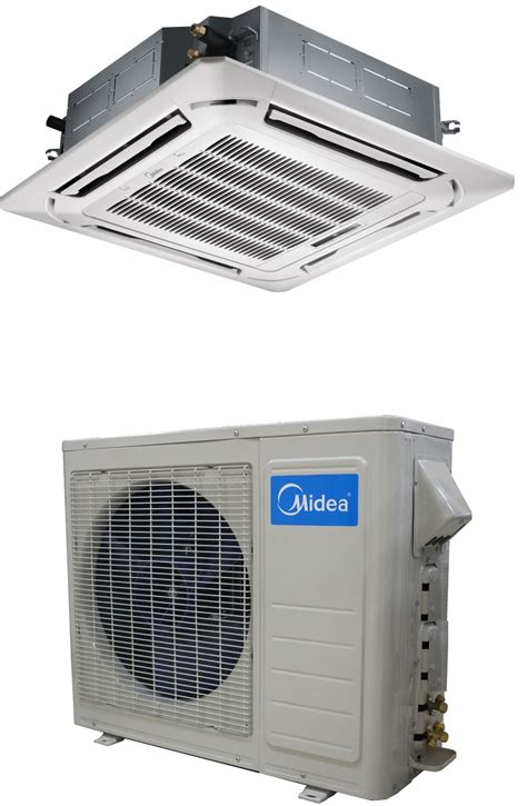 Ceiling Cassette Mini Split Size by Midea 24000 Btu 16 5 Seer Ceiling Cassette Mini Split Heat